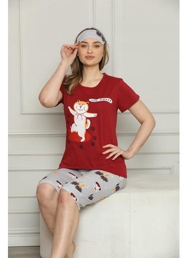 Akbeniz Kadın %100 Pamuk Penye Kısa Kol Kapri Pijama Takım 3531 Kırmızı